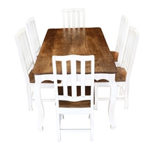 Rehoboth White and Natural Wood Cabriole Dining Table with 6 Chairs