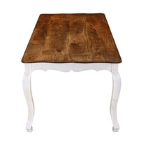 Rehoboth White and Natural Wood Cabriole Leg Dining Table