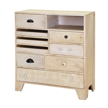 Aspen Handcarved Rustic Solid Wood 9 Drawer Vertical Chest