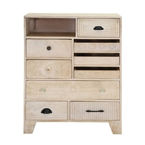 Aspen Handcarved Rustic Solid Wood 9 Drawer Vertical Dresser