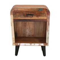 Hollywood Reclaimed Wood 1 Drawer Bedside Nightstand