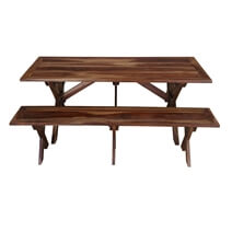 Traditional American Picnic Style Rustic Dining Table with Bench