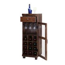 Pioneer Rustic Mango Wood 12 Bottle Wine Rack Cabinet