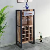 Modern Industrial Rustic Mango Wood 12 Space Wine Rack Cabinet