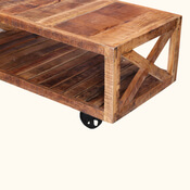 Colorado 47 Handcrafted Solid Wood Wheeled Industrial Coffee Table