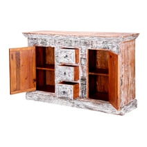 Boone Handcrafted Rustic Solid Wood 3 Drawer Large Sideboard Cabinet