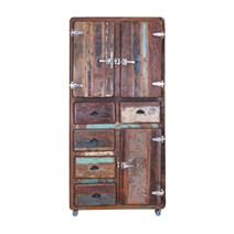 Fairfax Industrial Rustic Reclaimed Wood Armoire Cabinet With Drawers