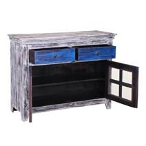 Herring Distressed White Rustic Mango Wood 2 Drawer Buffet Cabinet