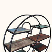 5 Shelf Industrial Open Round Bookcase