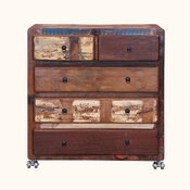 Appalachian Rustic Reclaimed Wood Rolling 5 Drawer Dresser Chest