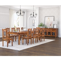San Francisco Handcrafted Solid Wood 12 Piece Dining Room Set