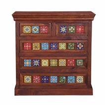 Dutch Farmhouse Rainbow Tiles Mango Wood 5 Drawer Dresser Chest