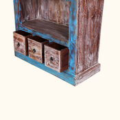 Aurora Distressed Solid Wood Three Shelf Rustic Home Office Bookcase