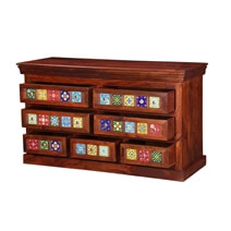 Mallorca Floral Tiled Solid Wood 7 Drawer Standard Horizontal Dresser