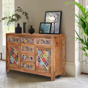 Farmhouse Rainbow Tiles Mango Wood 6 Drawer Rustic Sideboard Cabinet