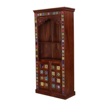Rainbow Tiles 2 Open Shelf Arched Bookcase With Doors Cabinet