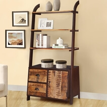 Oconto 4 Open Shelf Inustrial Bookcase With Drawers & Door Cabinet