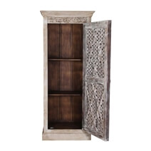 Barron Lattice Door Rustic Mango Wood Distressed White Linen Cabinet