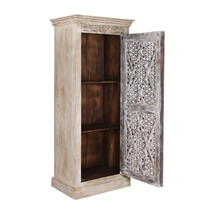 Barron Handcrafted Rustic Distressed Mango Wood Tall Narrow Armoire