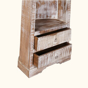Neenah 3 Open Shelf Rustic Reclaimed Wood Canoe Bookcase With Drawers