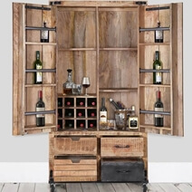 Farmhouse & Industrial Style Rustic Solid Wood Rolling Wine Bar Cabinet