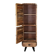 Retro Style Industrial Solid Wood Narrow Tall Linen Cabinet w Drawer