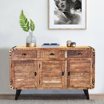 Alger Retro Style Rustic Mango Wood 3 Drawer Large Sideboard Cabinet