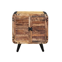 Retro Rustic Mango Wood Shutter Door Industrial Dining Cabinet