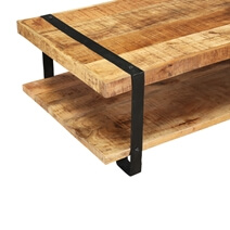 Utah Rustic Mango Wood 2 Tier Industrial Coffee Table