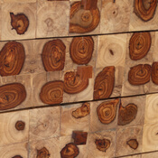 Contemporary Tree Rings Rosewood Tiles Mango Wood Chest of Drawer