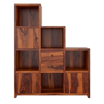 Proctorville Rustic Wood Stair Step Cube Bookcase With Doors & Drawers