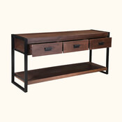 Modern Pioneer Mango Wood Industrial Hall Console Table w Drawers