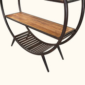 Baraboo 3 Open Shelf Rustic Industrial Round Bookcase