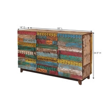 Rainbow Conch Carving Wooden Tile 3 Drawer Reclaimed Wood Sideboard