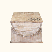 Winter White Rustic Mango Wood Half Barrel Coffee Table Chest