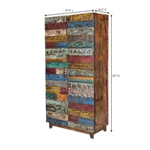 Rainbow Conch Carving Wooden Tile Reclaimed Wood Armoire Cabinet