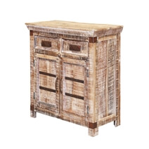 Benson Distressed Mango Wood 2 Drawer Rustic Small Sideboard Cabinet