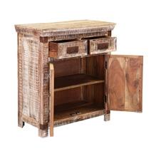 Benson Rustic Mango Wood 2 Drawer Freestanding Accent Cabinet