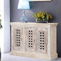 Winter White Flower Lattice Mango Wood Rustic Buffet Cabinet