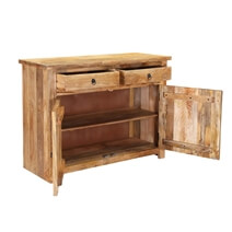 Waldo Rustic Mango Wood 2 Drawer Storage Buffet Cabinet