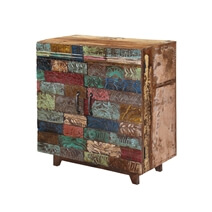 Rainbow Conch Carving Wooden Tile Reclaimed Wood Storage Cabinet
