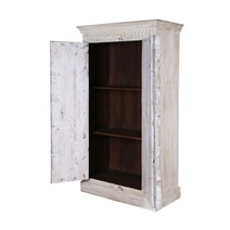 Hoboken Gothic Carved Rustic Solid Wood White Armoire With Shelves