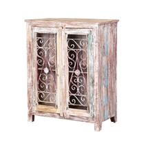 French Iron Carving Winter White Reclaimed Wood Storage Cabinet