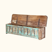 Boyce Rustic Turquoise Reclaimed Wood Large Storage Coffee Table Chest