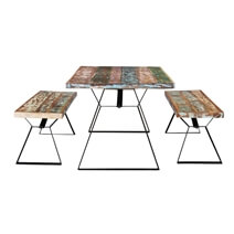 Rainbow Reclaimed Wood Industrial Dining Table w/ Benches Set