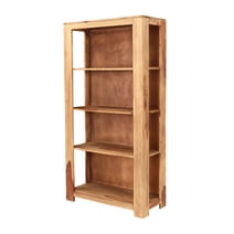 Romney 4 Open Shelf Rustic Solid Wood Home Office Bookcase