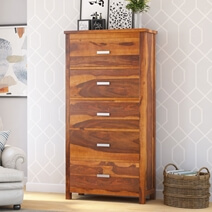 Flagstaff Rustic Solid Wood Tall Bedroom Dresser Chest With 5 Drawers