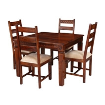 Handcrafted Solid Wood Square Dining Table and Chair Set