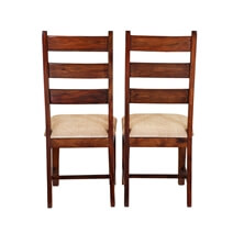 Handcrafted Solid Wood 2pc Upholstered Ladder Back Chairs