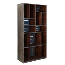 Modern Space 71 Reclaimed Wood Rustic Bookcase Wall Unit